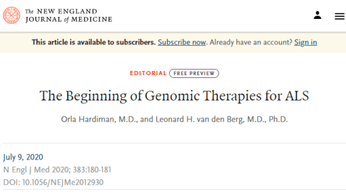 The Beginning of Genomic Therapies for ALS