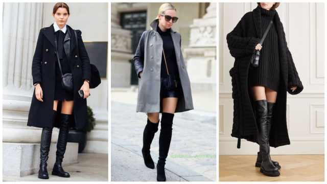 Как носить ботфорты с пальто