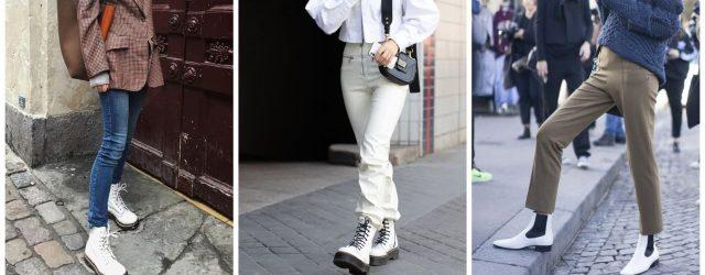 С чем носить женские белые ботинки