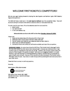 FIRST Robotics Duluth Catering Order Form 2018 - MN First