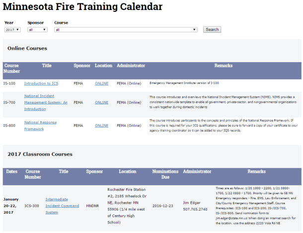 Screen capture of the MN Training Information page on the MNDNR.gov website.