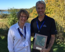 Sue Steinwall, Land Trust Board Chair with Tom Dowell, Associate Superintendent of the Three Rivers Park District, Partner of the Year