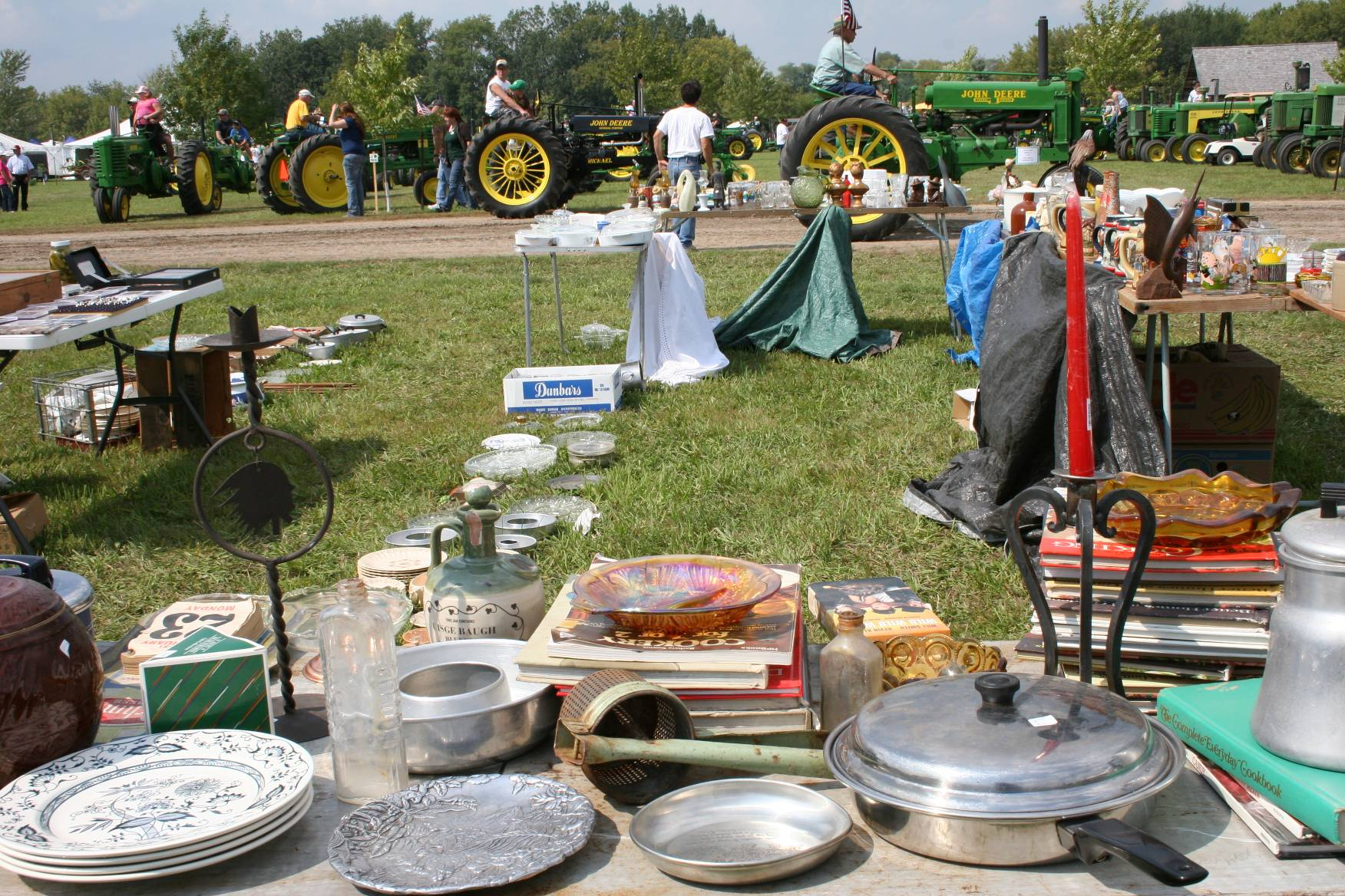 Merchandise displayed at the Rice County Steam and Gas Engines Show flea market.