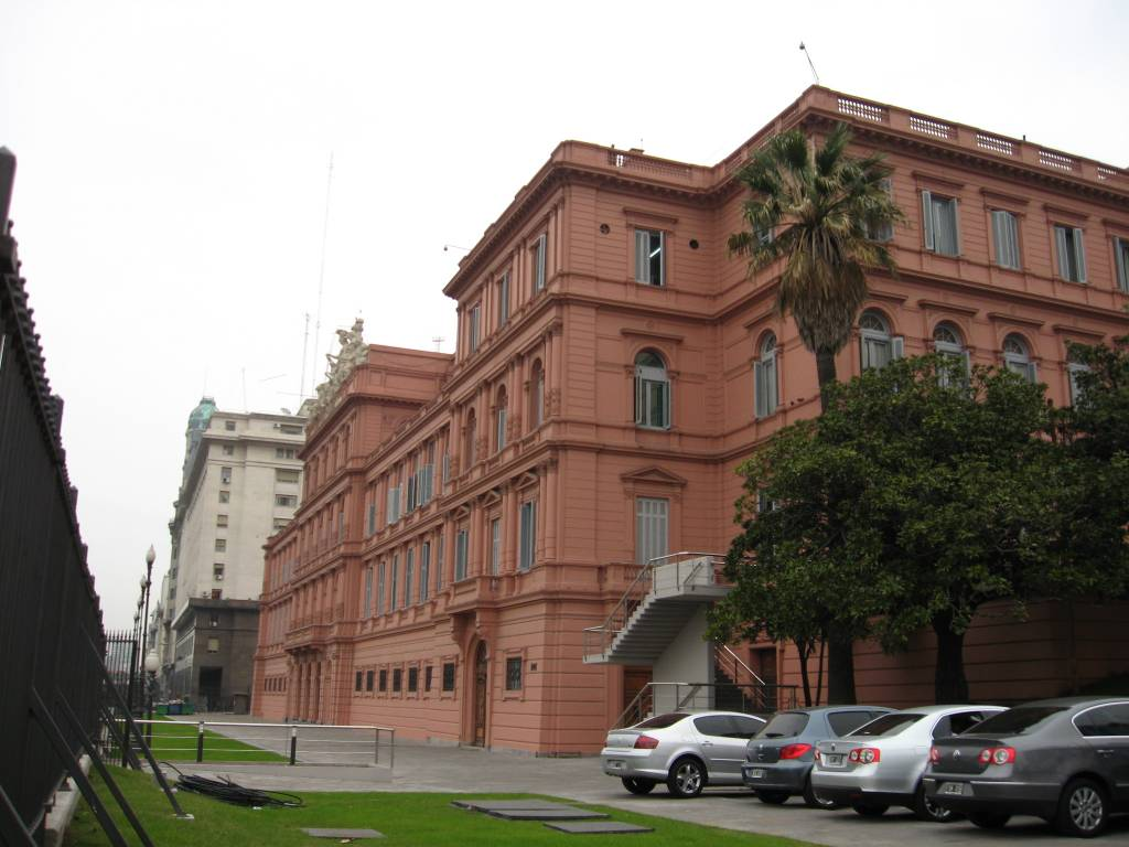 Argentina's presidential palace, La Casa Rosada, is painted pink. This is the back of the palace in a photo taken by Miranda Helbling.