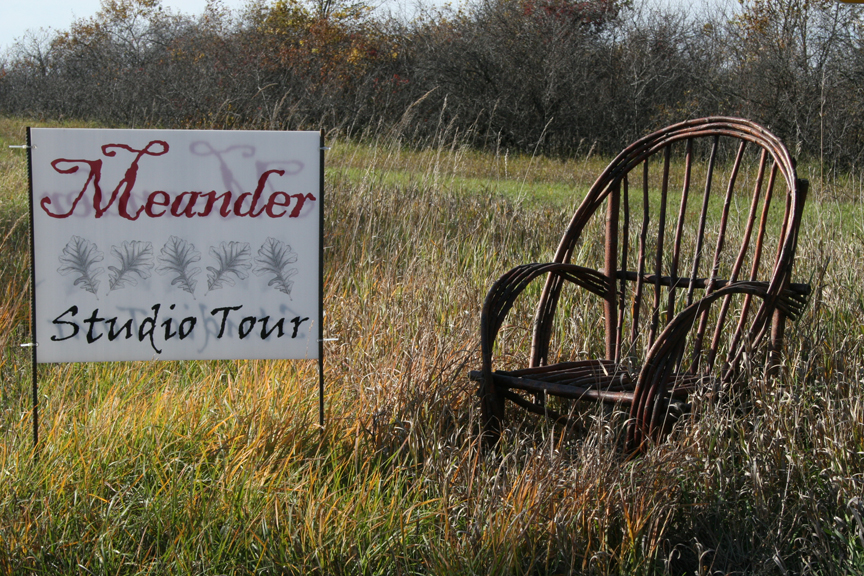 A native willow chair welcomes Meander visitors to Stony Run Woods near Granite Falls, the studio of Dale and Jo Pederson. Photo by Pam Nedrud.