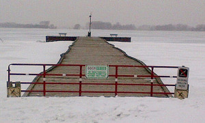 The 420-foot-long pier at Rondeau Provincial Park, which is a popular spot for visitors, will remain closed indefinitely due to damage caused by ice during this harsh winter. CONTRIBUTED/ THE CHATHAM DAILY NEWS/ QMI AGENCY