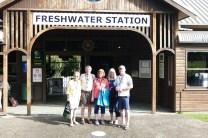 All aboard the Kuranda rail! Garnet, Garrett, Carol, Judy, and Gary