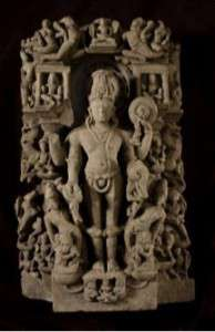Vishnu with Attendants, Bangladesh, 12th century, schist (stone), Collection of the Newark Museum