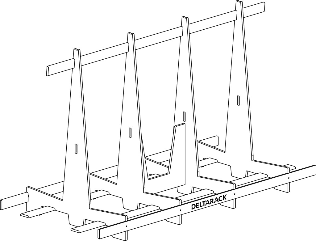Moag Delta Rack Glass Cart line drawing