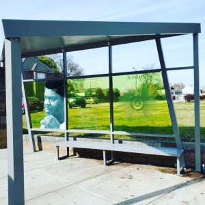 Dip tech and Evalam color laminated Glass Bus Stop