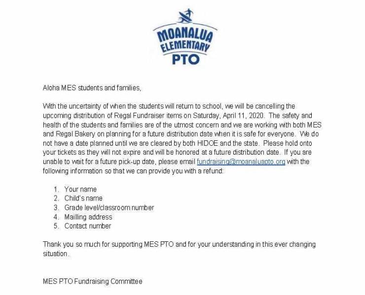 Regal 2020 Postpone pick up letter