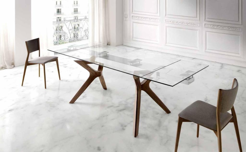 Mesa de comedor extensible de cristal