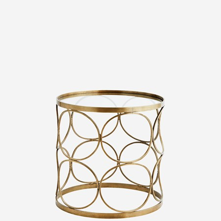 sofabord Clear glass brass sofabord fra Madam Stoltz