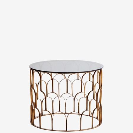 kaffebord Coffee Table Brass/Black Glass Iron fra Madam Stoltz