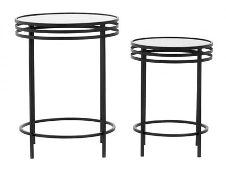 kaffebord Sidebord 2 stk. Black glass fra Nordal