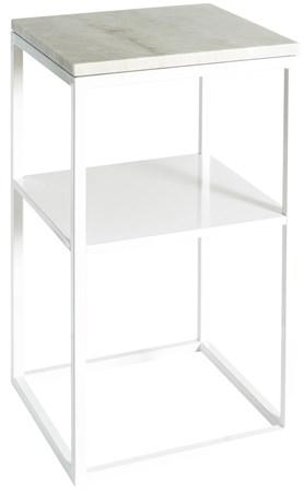 marmor-bord Sidebord Hvit marmor/Hvit 40x40x70 cm fra Svensk Marmor