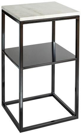 marmor-bord Sidebord Hvit marmor/Svart med Hylleplan 40x40x70 cm fra Svensk Marmor