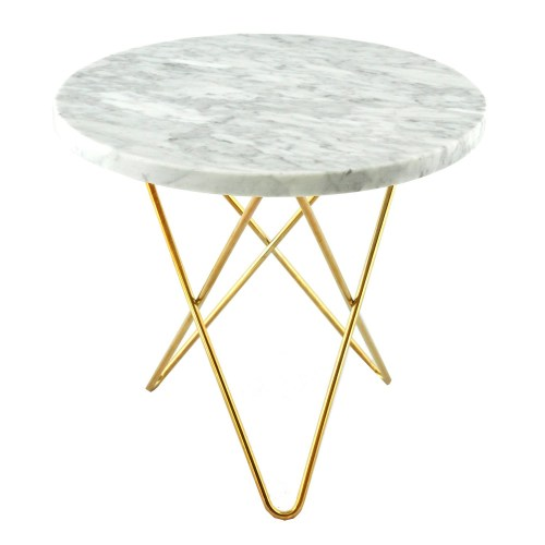 Tall Mini O sidebord hvit marmor/messing marmor-bord marmor-bord fra hviit