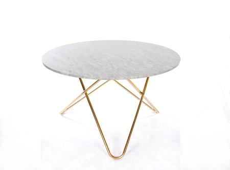 Big O Spisebord Messing/Hvit Marmor Ø120 fra OX DENMARQ
