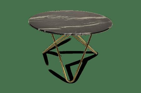 Big O Spisebord Messing/Svart Marmor Ø120 fra OX DENMARQ