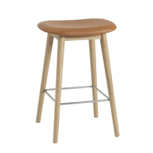 Fiber Barstol WOOD H:65 w/leather - Muuto