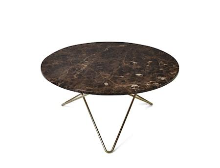 O Table Spisebord Messing/Brun Marmor Ø80 fra OX DENMARQ