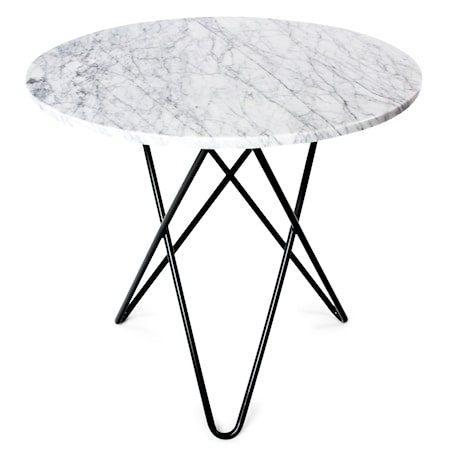O Table Spisebord Svart/Hvit Marmor Ø100 fra OX DENMARQ