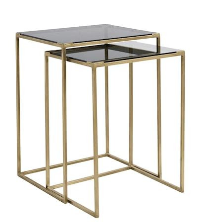 Soffbord kvadratisk 2st - Svart/messing fra Nordal