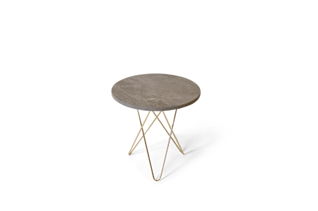 Tall Mini O Table Grå Marmor med Messingramme Ø50 fra OX DENMARQ