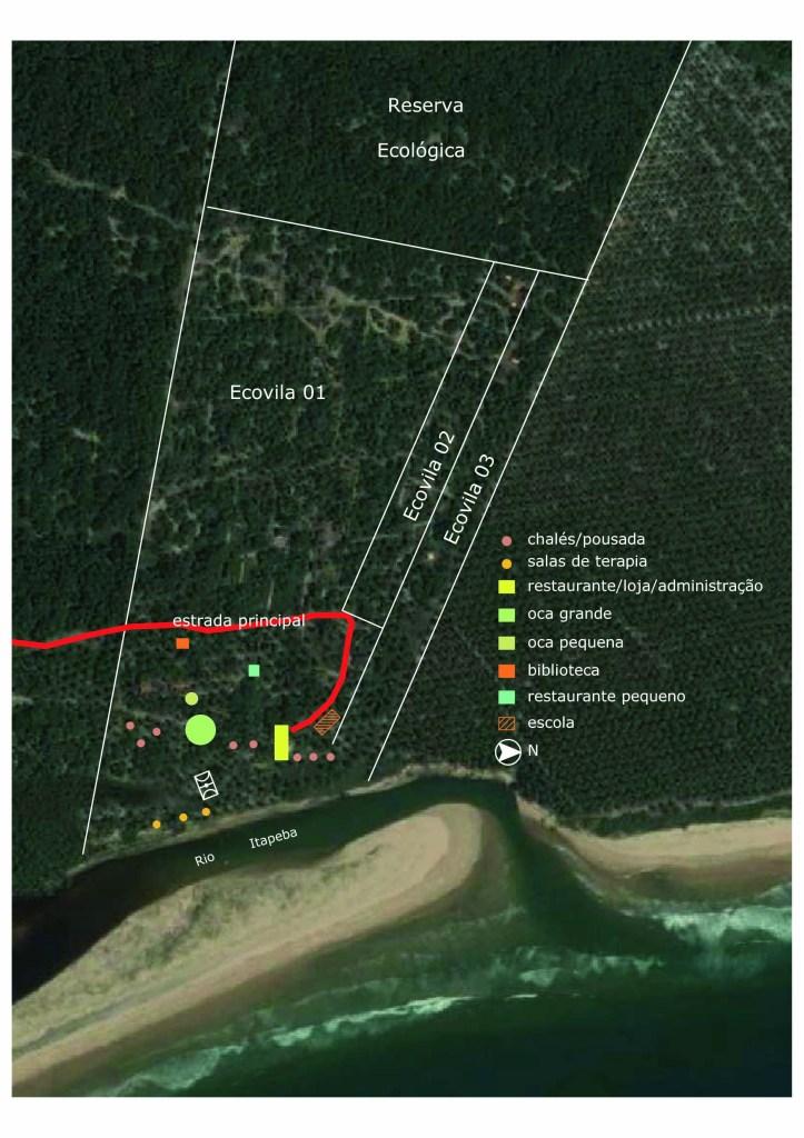 Mapa da Ecovila Itapeba que mostra as áreas Ecovila 1, 2 e 3