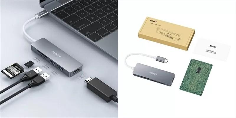 USB-Cハブ AUKEY CB-C72002 オーキー Apple MacBookpro マックブックプロ