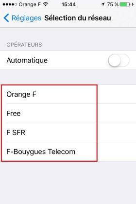 Iphone IOS 9 opérateur OFSB
