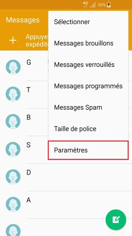 SMS Samsung android 5 . x--message-parametre