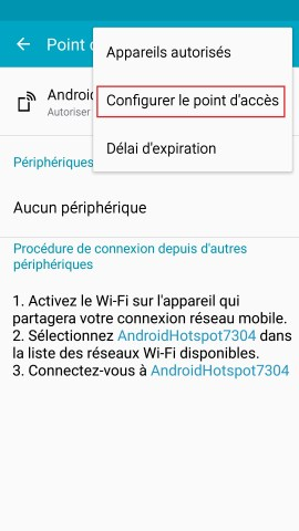 internet Samsung android 5 . x modem et point d'acces configurer