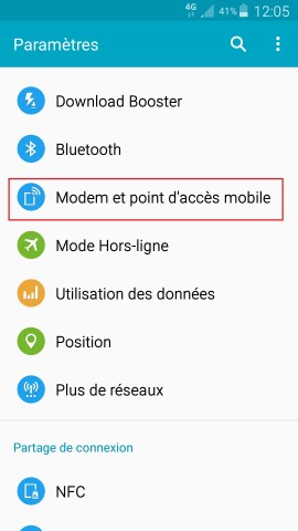 internet Samsung android 5 . x modem et point d'acces