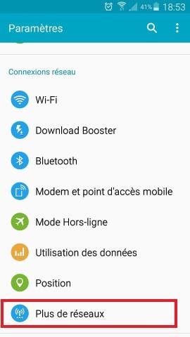 MMS Samsung android 5.x menu plus de réseaux