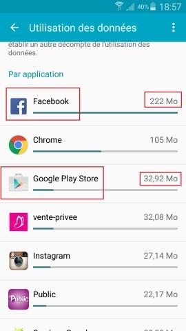 internet Samsung android 5 . x menu utilisation des données applications