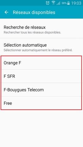 Échec réseau appel Samsung android 5 selection de réseaux