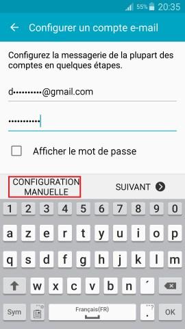 mail Samsung config mail manuel