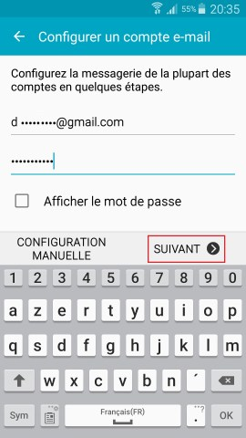 mail Samsung config mail suivant