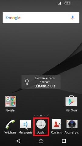 contact code pin ecran verrouillage Sony (android 6.0) applis