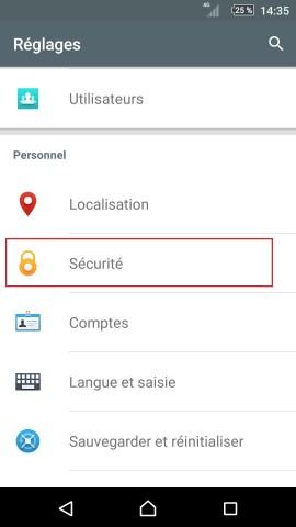 contact code pin ecran verrouillage Sony (android 5.1) réglages sécurité