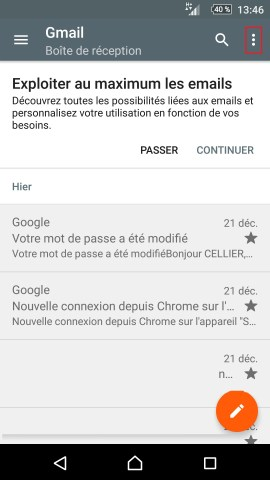 mail Sony android 5.1 suppression mail point