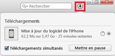 iTunes restauration en cours téléchargement