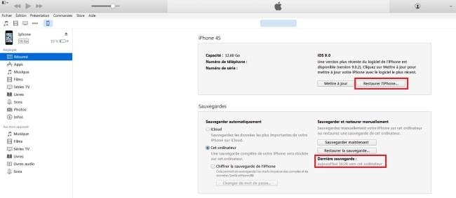 itunes restaurer iphone