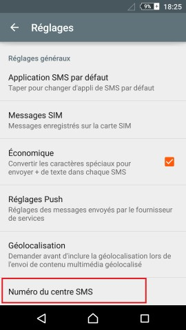 SMS Sony android 5 . 1 message centre de messagerie