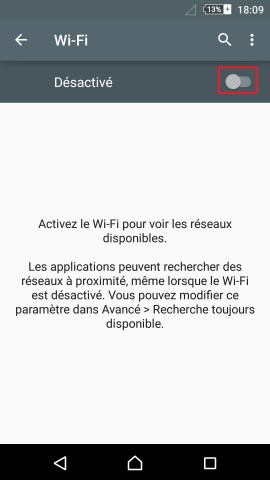 internet Sony android 5 . 1 reglages WIFI activation