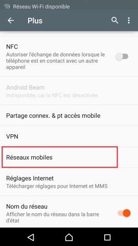 internet Sony android 5 . 1 reglages reseaux mobiles
