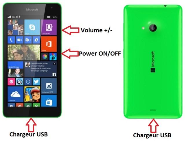 Microsoft Lumia 535 bouton