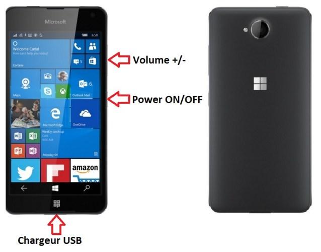 Nokia Lumia 650 bouton